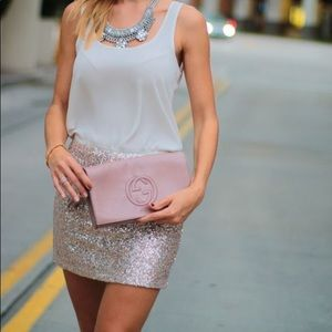 Rose Gold Sequin Topshop Mini Skirt